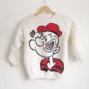 VINTAGE Kids Popeye Hand-knit White Sweater